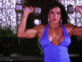 Busty Marina Lopez in blue gym gear-3