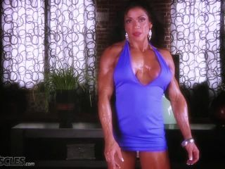 Busty Marina Lopez in blue gym gear-7