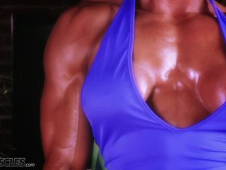 Busty Marina Lopez in blue gym gear-9