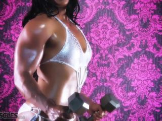 Ripped Tina Rock flexes her big muscles-3