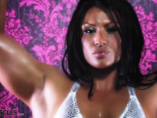 Ripped Tina Rock flexes her big muscles-8